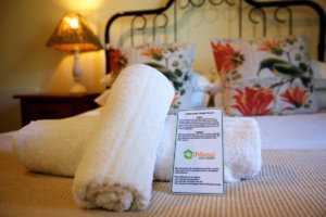 Towels on the bed at Inkosi Eco Lodge.