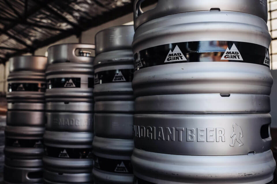 Barrels of beer from Mad Giant Brewery.