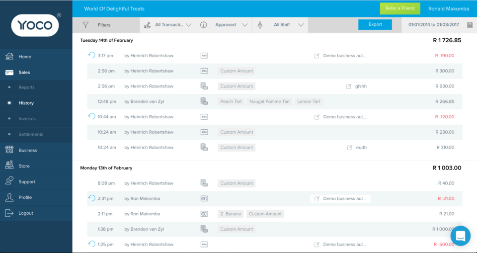 The sales history page of the Yoco Business Portal.