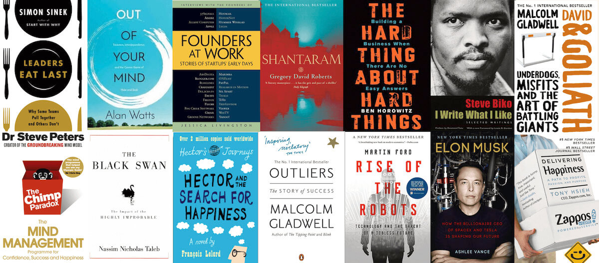 A selection of books for entrepreneurs.