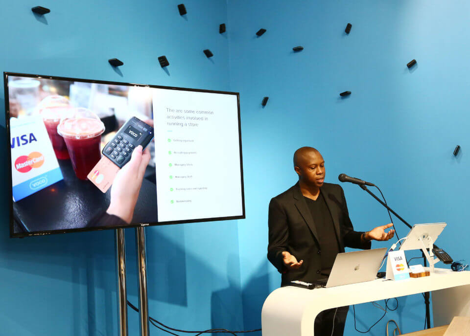 Katlego Maphai, CEO of Yoco, talking at the Yoco Point of Sale launch.