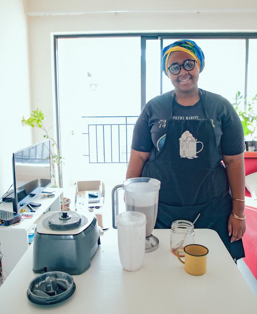 Sine Ndlela of Yo Coco making ice cream.