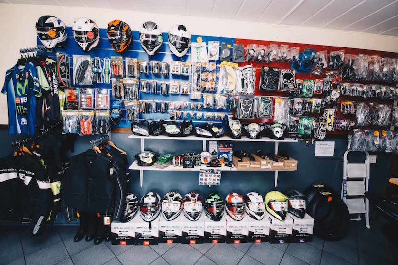 A display of merchandise at the Ultimate Bike store.