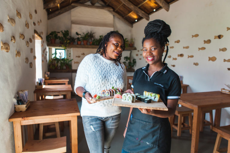 Waiters at a Sushi Box in Constantia, Cape Town.