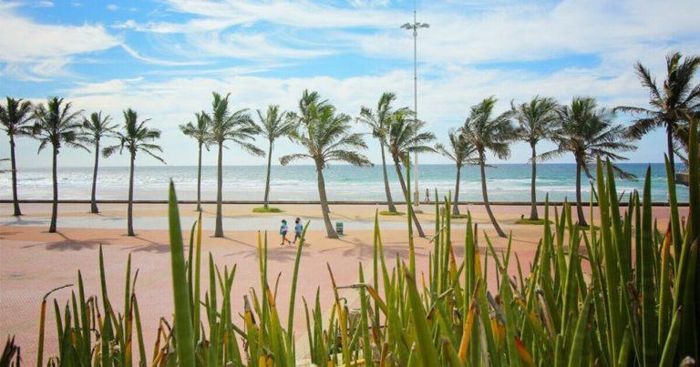 A beach promenade in summer.
