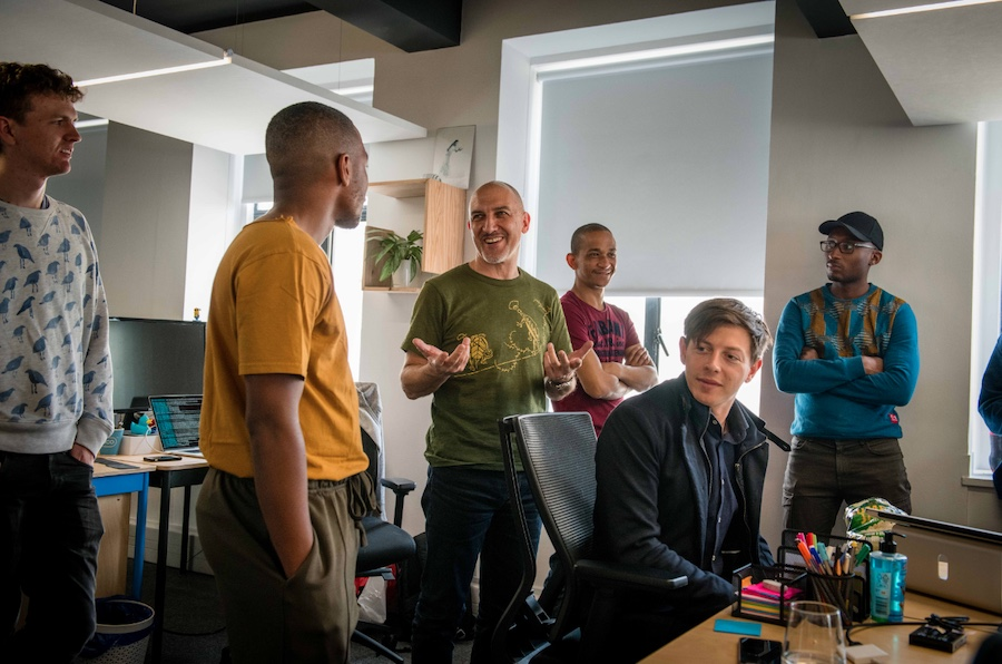 Nick Jacobs with some of the dev team at Yoco.