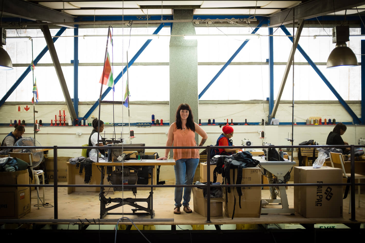 Shannon McLaughlin in her Ubuntu Baba factory in Cape Town.