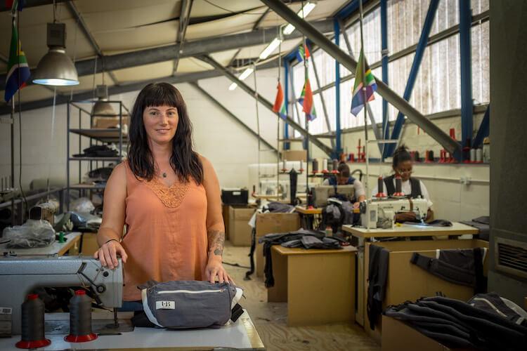 Shannon McLaughlin in the Ubuntu Baba factory.
