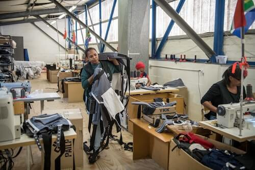 Working in the Ubuntu Baba factory in Retreat, Cape Town.