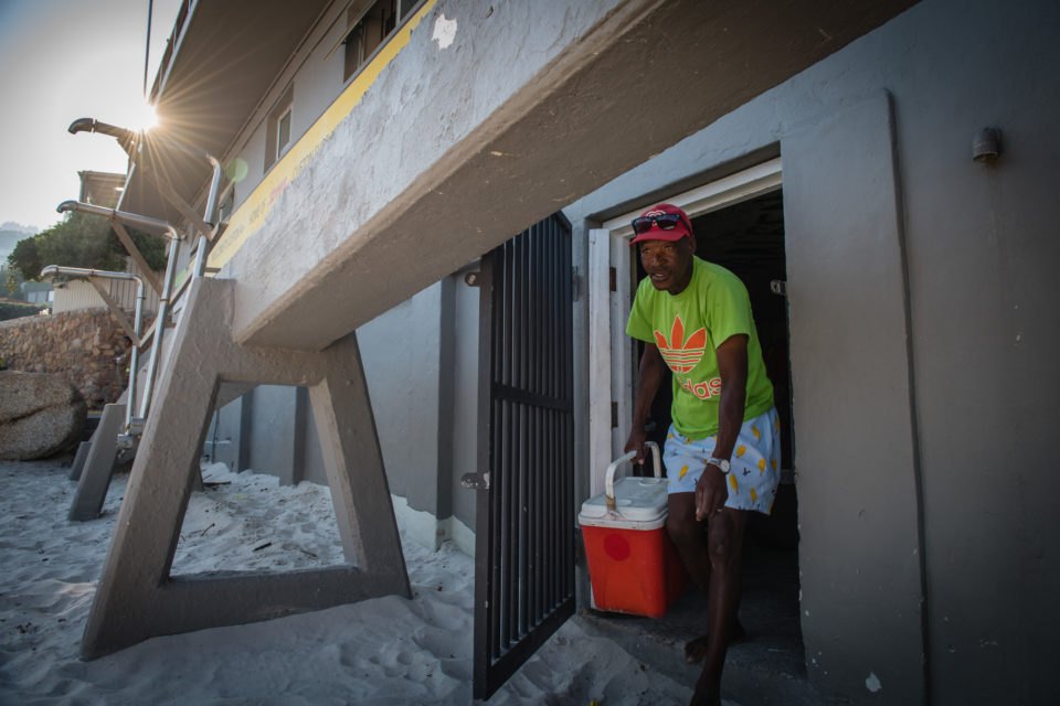Bringing stuff out of the store room to sell on Cape Town's beaches.