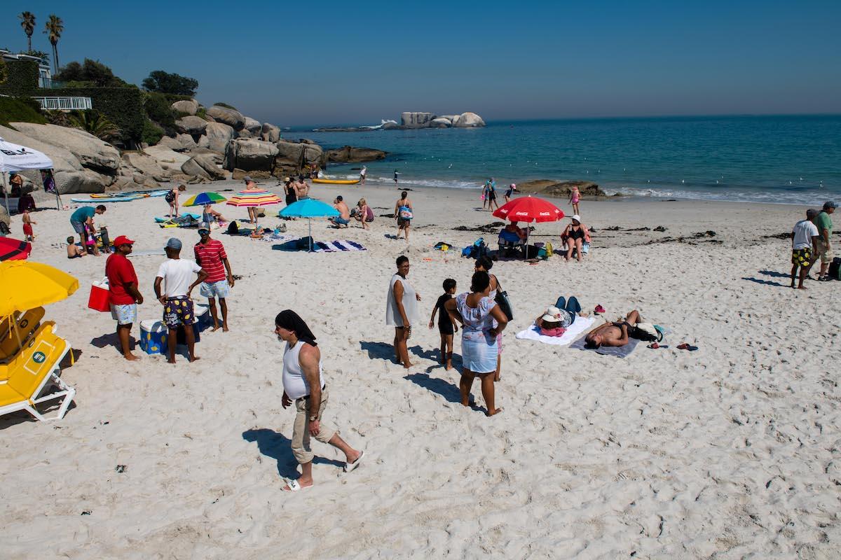 A busy Cape Town beach.