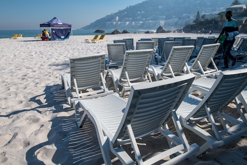 Chairs set up on the beach by JK Vending.