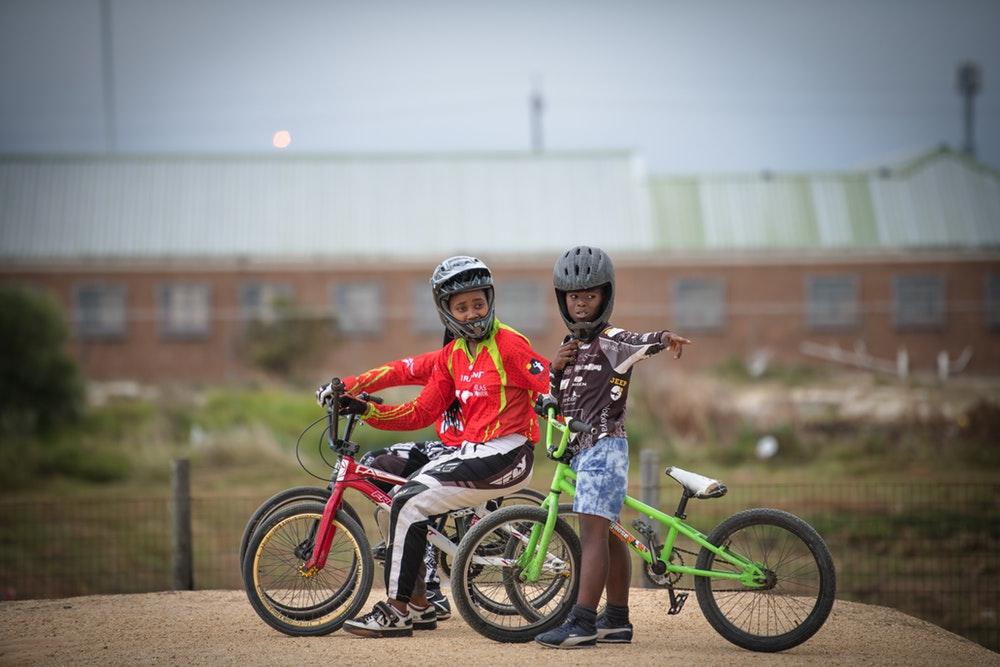 Anita at Velokhaya's dirt track.