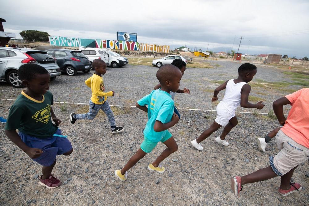 Running exercises for the children.