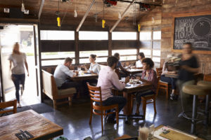 A busy restaurant over the holiday period in an article about managing staff.
