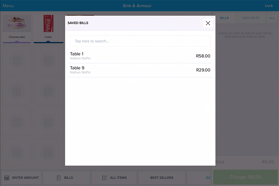 A new feature from Yoco that allows you to add tabs to an order.