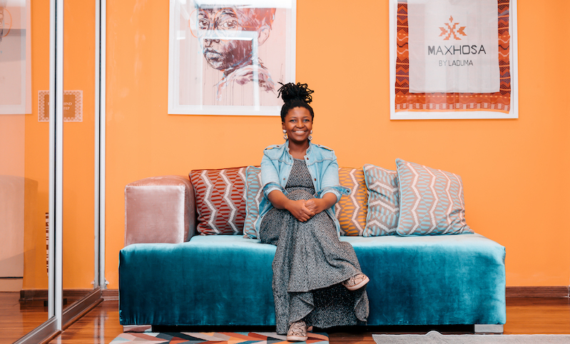 Tina Ngxokolo at the offices of MaXhosa by Laduma.