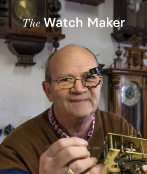 Louis the Watch Maker in his workshop.