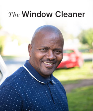 An image of a window cleaner interviewed as part of Yoco's Built on Small campaign.