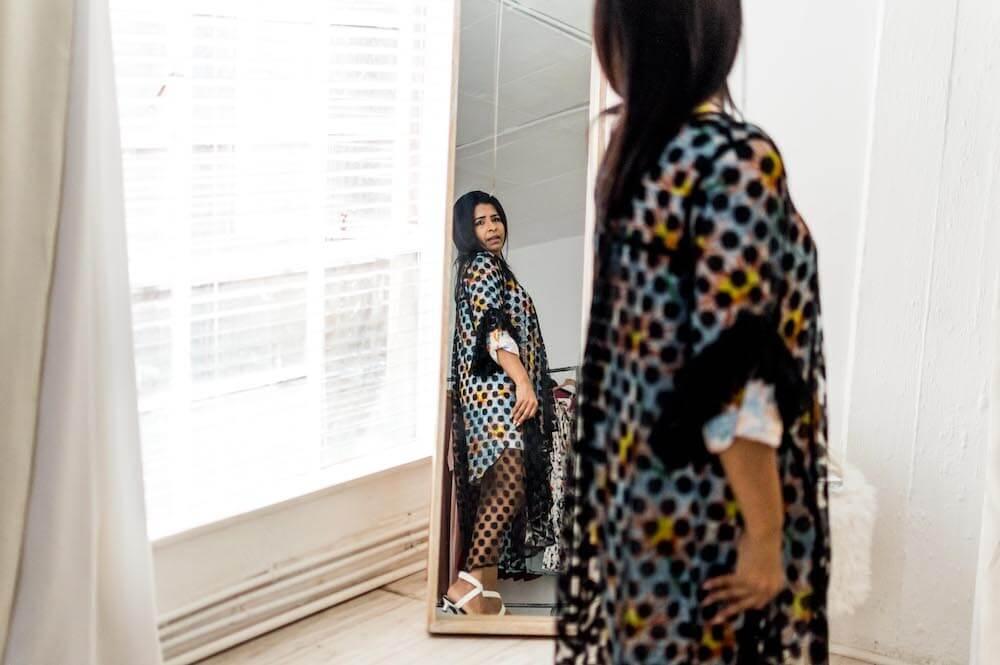 Thilo modelling the fashion designs she creates for her niche market.
