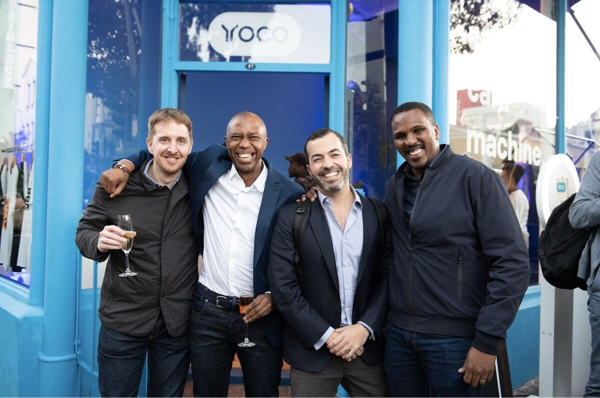 The Yoco founders in front of the Bree Street store.