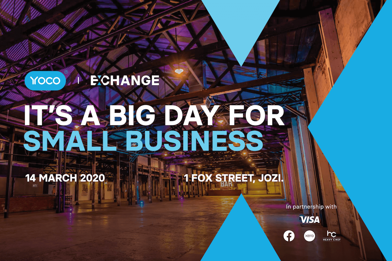 A banner image for Yoco Exchange. A small business summit for entrepreneurs.