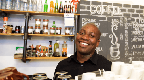 An employee at Hard Pressed cafe in an article about motivating your employees.