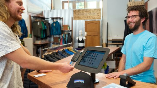A customer shopping at Patagonia in Cape Town using Yoco.
